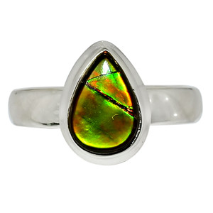 Canadian Ammolite 925 Sterling Silver Ring Jewelry s.5.5 32513R