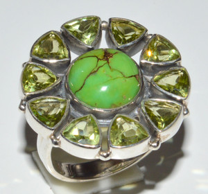 Green Mohave Turquoise & Peridot 925 Sterling Silver Rings Jewelry s.6  JB13300