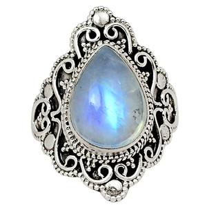 Bali Design - Moonstone - India 925 Sterling Silver Ring Jewelry s.7 32600R