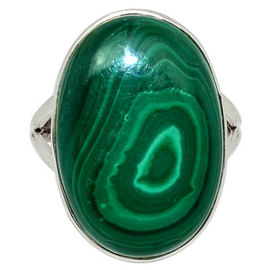 Bulls Eye Malachite 925 Sterling Silver Ring Jewelry s.10 32586R