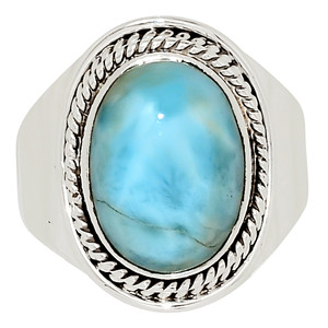 Genuine Larimar - Dominican Republic 925 Sterling Silver Ring Jewelry s.8 32493R