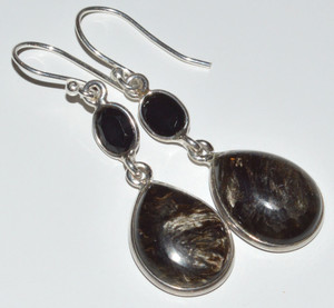 Pietersite, Black Onyx 925 Sterling Silver Earrings Jewelry JB12502