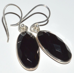 Faceted Black Onyx 925 Sterling Silver Earrings Jewelry JB12556