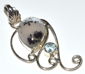 Merlinite - Dendritic Opal & Blue Topaz 925 Sterling Silver Pendant  JB12021