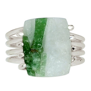 Green Tourmaline In Quartz 925 Sterling Silver Ring Jewelry s.6.5 32575R
