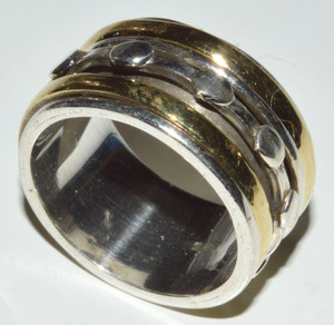 Two Tone - Meditation Spin 925 Sterling Silver Rings Jewelry s.6  JB13349