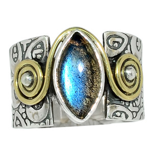 Two Tone - Labradorite - Madagascar 925 Sterling Silver Ring Jewelry s.7 32545R