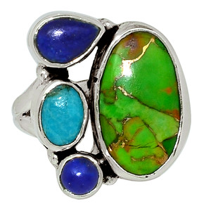 Copper Green Turquoise, Blue Mohave Turquoise & Lapis 925 Silver Ring s.6 32630R
