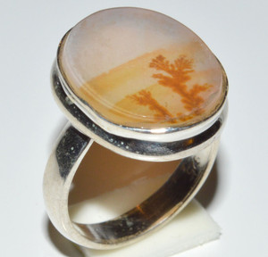 Famous Shazar Stone, Dendritic Agate 925 Sterling Silver Rings  s.5.5  JB13049