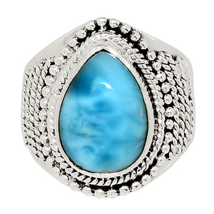 Genuine Larimar - Dominican Republic 925 Sterling Silver Ring Jewelry s.8 32499R