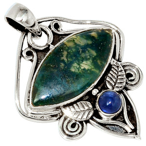 Moss Agate - India & Kyanite 925 Sterling Silver Pendant Jewelry 32663P