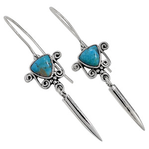 Blue Mohave Turquoise, Arizona 925 Sterling Silver Earrings Jewelry 33051E