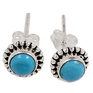 Blue Mohave Turquoise, Arizona 925 Silver Earrings - Stud Jewelry 33022E