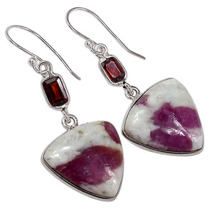 Pink Tourmaline In Quartz & Garnet 925 Sterling Silver Earrings Jewelry 33056E