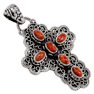 Cross - Coral 925 Sterling Silver Pendant Jewelry 32884P