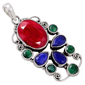 Ruby, Emerald & Sapphire 925 Sterling Silver Pendant Jewelry 32962P