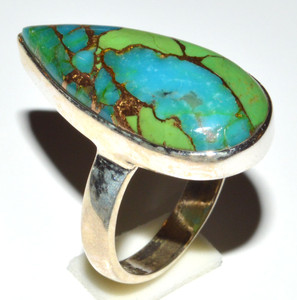 Blue Turquoise In Green Mohave - U.S.A 925  Silver Ring  s.7 JB14667