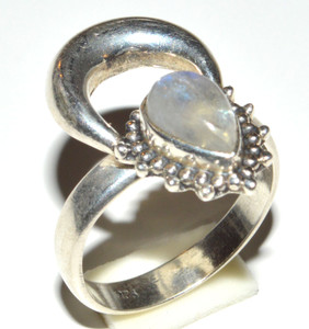 Rainbow Moonstone 925 Sterling Silver Ring Jewelry s.6.5 JB14656