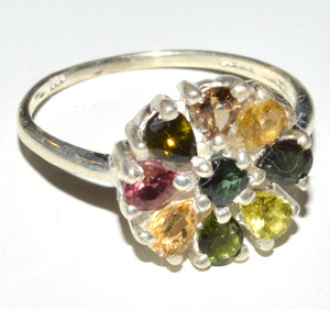 Multi Tourmaline Cluster 925 Sterling Silver Ring Jewelry s.6.5 JB14743