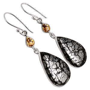 Pyrite In Agate & Smoky Topaz 925 Sterling Silver Earrings Jewelry 33155E