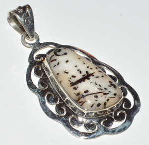 Montana Agate From The Yellowstone River 925  Silver Pendant  JB14151