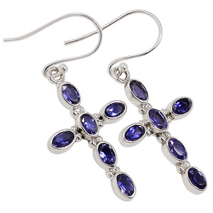Iolite - India 925 Sterling Silver Earrings Jewelry 33091E