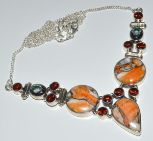 Spiny Oyster Arizona Turquoise & Garnet 925 Sterling Silver Necklace  JB14356