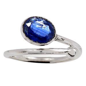 Faceted Kyanite - Brazil 925 Sterling Silver Ring Jewelry s.7 33339R