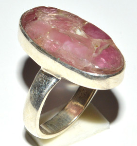 Pink Tourmaline In Quartz 925 Sterling Silver Ring Jewelry s.5 JB14599
