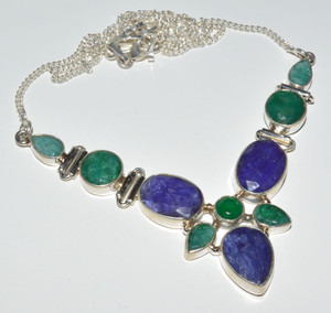 Sapphire & Emerald 925 Sterling Silver Necklace Jewelry JB14365