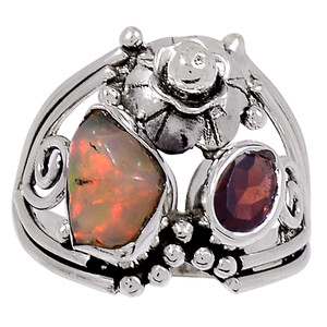 Ethiopian Opal Rough & Garnet 925 Sterling Silver Ring Jewelry s.9 33349R