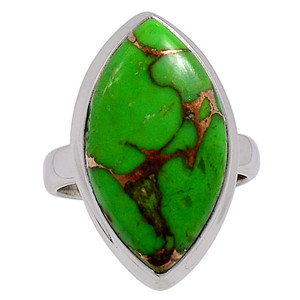 Copper Green Turquoise - Arizona 925 Sterling Silver Ring Jewelry s.7 33170R