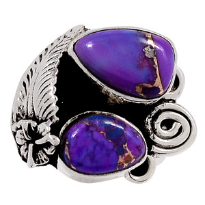 Copper Purple Turquoise - Arizona 925 Sterling Silver Ring Jewelry s.7 33272R