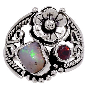 Ethiopian Opal Rough & Garnet 925 Sterling Silver Ring Jewelry s.9 33340R