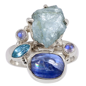 Aquamarine Rough & Kyanite 925 Sterling Silver Ring Jewelry s.9.5 33362R