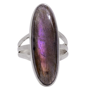 Purple Labradorite - Madagascar 925 Silver Ring Jewelry s.7 33213R