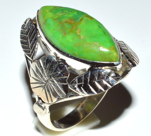 Copper Green Turquoise - Arizona  925 Sterling Silver Ring  s.9.5 JB14692