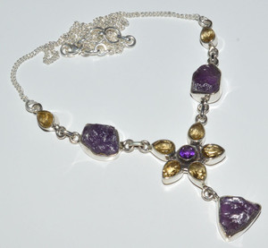 Amethyst Rough & Citrine 925 Sterling Silver Necklace Jewelry JB14359