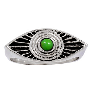 Evil Eye - Green Mohave Turquoise 925 Sterling Silver Ring Jewelry s.7.5 33323R
