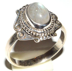 Rainbow Moonstone 925 Sterling Silver Ring Jewelry s.6.5 JB14659