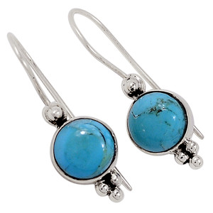 Blue Mohave Turquoise Arizona 925 Sterling Silver Earrings Jewelry 33079E