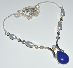 Lapis & Fresh Water Pearl925 Sterling Silver Necklace Jewelry JB14358