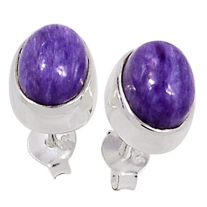 Siberia Charoite 925 Sterling Silver Earrings Stud Jewelry 33068E