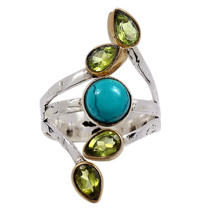 Natural Tibetan Turquoise & Peridot 925 Sterling Silver Ring Jewelry s.9 33312R