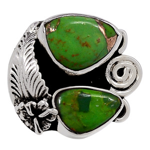 Copper Green Turquoise - Arizona 925 Sterling Silver Ring Jewelry s.7 33274R