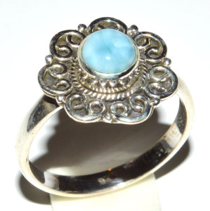 Carved Genuine Larimar 925 Sterling Silver Ring Jewelry s.8.5 JB14708