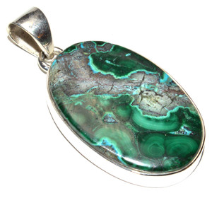Malachite In Chrysocolla - Congo 925 Sterling Silver Pendant Jewelry JB15265