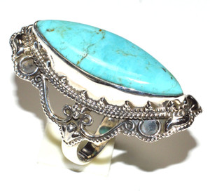 Blue Mohave Turquoise, Arizona 925 Sterling Silver Ring Jewelry s.5.5 JB15465
