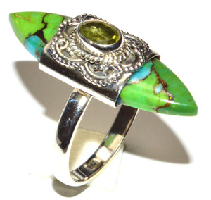 Blue Turquoise In Green Mohave 925 Sterling Silver Ring Jewelry s.7.5 JB15460