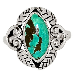 Southwest Style - Natural Tibetan Turquoise 925 Silver Ring Jewelry s.8.5 33639R